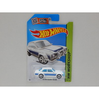 1:64 1970 Ford Escort RS1600 (White with Blue Stripe) - 2014 Hot Wheels Long Card - Made in Malaysia