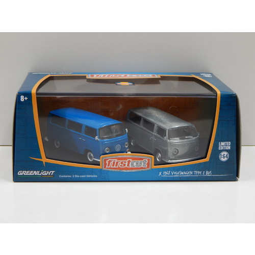 1:64 1968 Volkswagen Type 2 Bus - First Cut Twin Pack